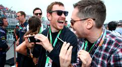 Actors Michael Fassbender and Bryan Singer attend the Canadian Formula One Grand Prix at Circuit Gilles Villeneuve on June 7, 2015 in Montreal, Canada. (Photo by Mark Thompson/Getty Images)
