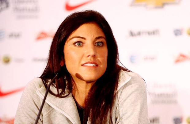 USA goalkeeper Hope Solo addresses the media at the USA women's national soccer team media day at the Marriott Marquis. Mandatory Credit: Andy Marlin-USA TODAY Sports