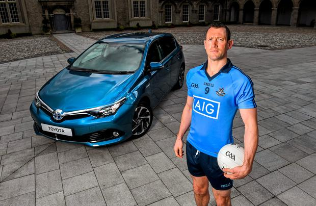 Dublin footballer Denis Bastick celebrating the launch of Summer Showtime for Toyota