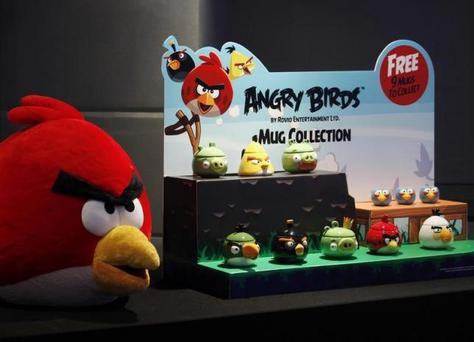 Angry Birds products are displayed during a news conference in Hong Kong July 3, 2012. REUTERS/Bobby Yip