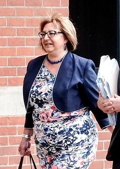 Anne Lakey arriving at Teesside Crown Court, as a jury has heard that the headteacher accused of having sex with two underage boys in the late 1980s was a