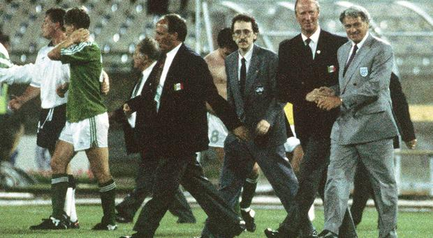 England manager Bobby Robson, right, shakes hands with Republic of ireland manager Jack Charlton after the game.