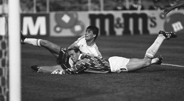 21 June 1990; Niall Quinn, Ireland, scores the equalising goal despite the attentions of Holland's goalkeeper Van Breukelen. Republic of Ireland v Holland, World Cup Finals, Group Match, Palermo, Italy. Soccer. Picture credit; Ray McManus / SPORTSFILE