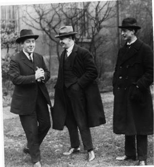 Rebels: Harry Boland with friends Michael Collins and Eamon de Valera whose footsteps Timmy Dooley is following as Fianna Fáil TD for Co Clare