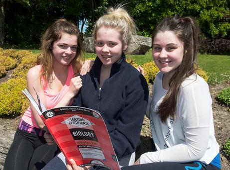 Kate Brady , India Marshall and Orla Molloy ahead of their Biology exam at Salerno College, Galway, yesterday. Photo: Andrews Downes
