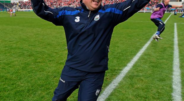 Derek McGrath celebrates after Waterford's victory over Cork in the Munster SHC clash in Semple Stadium