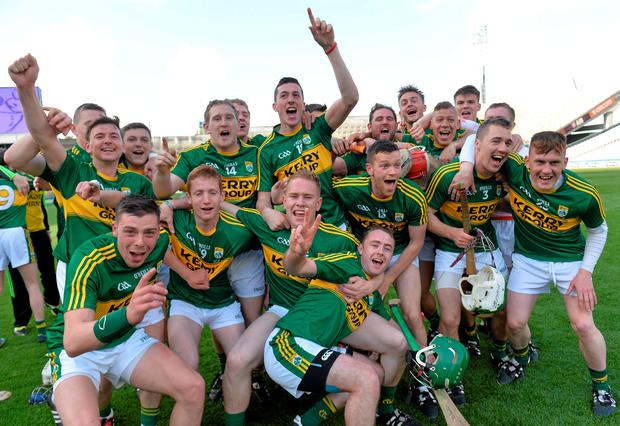 Kerry players celebrate winning the Christy Ring Cup this year