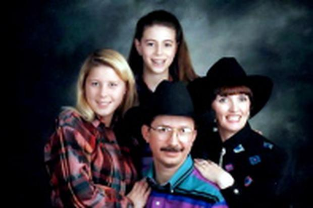Julia Holmes (far right) with her second husband Clyde Parrish from Texas and her two step daughters, Kimberly (far left) and Rosalyn (top centre)