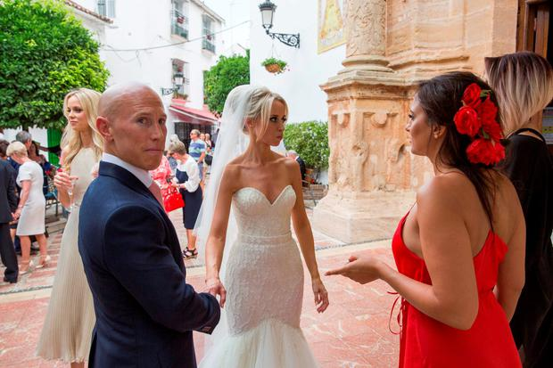 Pics show the wedding of Irish rugby union player Peter Stringer and Deborah O'Leary. Peter, who plays at scrum-half for Sale and Ireland, married his sweetheart today at 1pm at Nuestra Senora de la Encarnacion at the Plaza de la Iglesia, in the old town of Marbella. Picture: Solar Pix