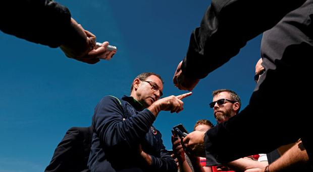 Republic of Ireland manager Martin O'Neill during a pitchside update today