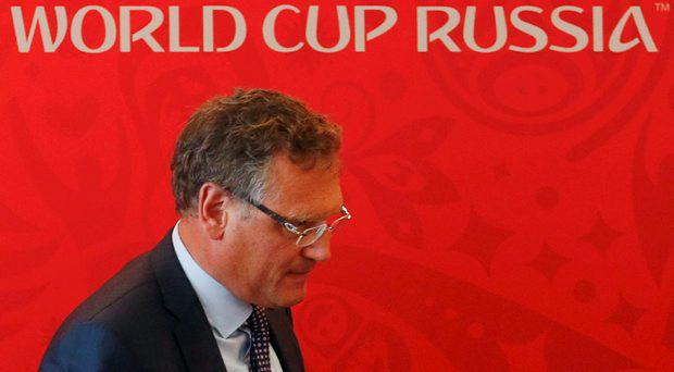 FIFA Secretary General Jerome Valcke walks away after attending a news conference in the southern city of Samara, Russia, June 10, 2015