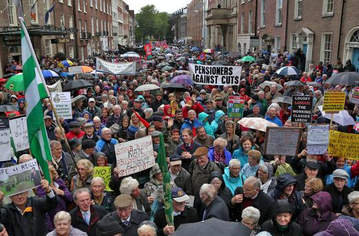 Pensioners protesting outside the Dáil after the Budget in October, 2013. Photo: Colin Keegan, Collins