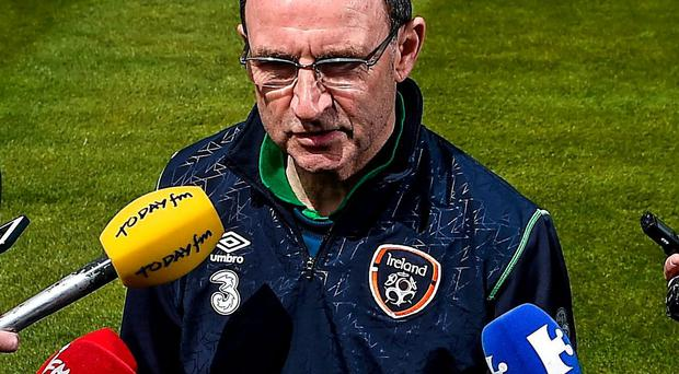 Martin O'Neill speaks to the media in Malahide yesterday
