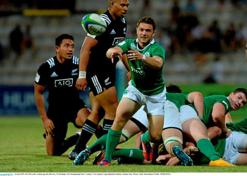 10 June 2015; Nick McCarthy, Ireland, gets the ball away. World Rugby U20 Championship Pool C, Ireland v New Zealand. Luigi Zaffanella Stadium, Viadana, Italy. Picture credit: Massimiliano Pratelli / SPORTSFILE