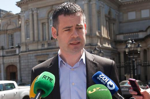Pearse Doherty speaking at Leinster House yesterday