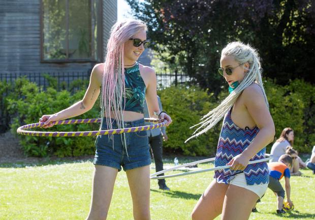 Hula Hoopers at St. Stephen's Green in The Summer Sun today, Emily Kelly, Ballsbridge and Jen Jones, Blackrock.