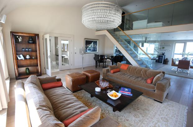 Lap of luxury: Shane O'Riordan in the three-bed penthouse, Wyckham Point, Dundrum