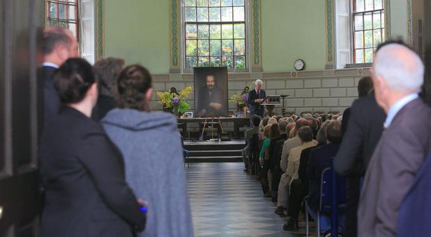 Scene during the Humanist Funeral Service for Paolo Tullio at The Exam Hall in Trinity College, Dublin. Photo: Gareth Chaney Collins