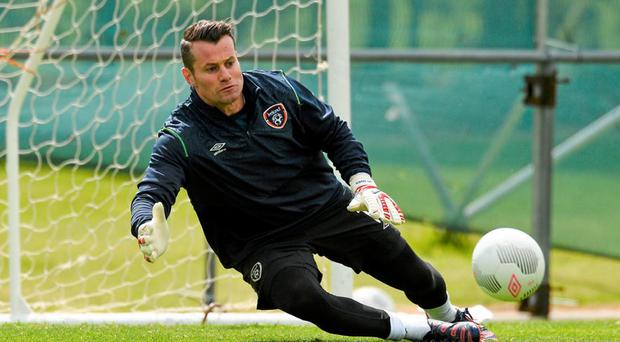 Republic of Ireland goalkeeper Shay Given during squad training. Gannon Park, Malahide, Co. Dublin. Picture credit: David Maher / SPORTSFILE