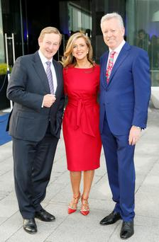 Pictured at communications firm FleishmanHillard Ireland's 25th anniversary celebration at the Marker Hotel are An Taoiseach Enda Kenny TD, Rhona Blake, Managing Director, FleishmanHillard Ireland and the founder of FleishmanHillard's Irish operation, John Saunders, now Regional President for FleishmanHillard EMEA.