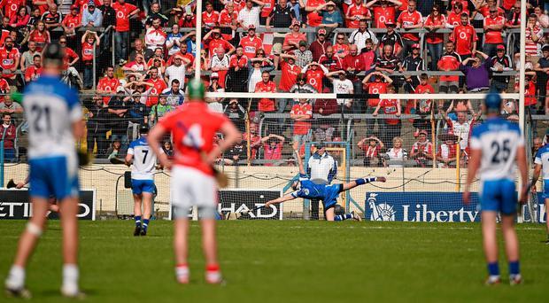 Cork's Patrick Horgan fires a penalty to the net past Waterford goalkeeper Stephen O'Keeffe during last weekend's Munster SHC clash in Thurles RAY McMANUS/SPORTSFILE