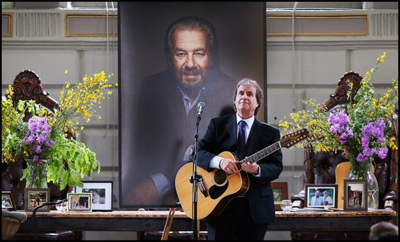 Singing at the Humanist Service in the Examination Hall of Trinity College Dublin for Paolo Tullio was Chris De Burgh. Pic Steve Humphreys 11th June 2015.