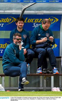 Ireland assistant manager Roy Keane and manager Martin O'Neill, right, during squad training, Gannon Park