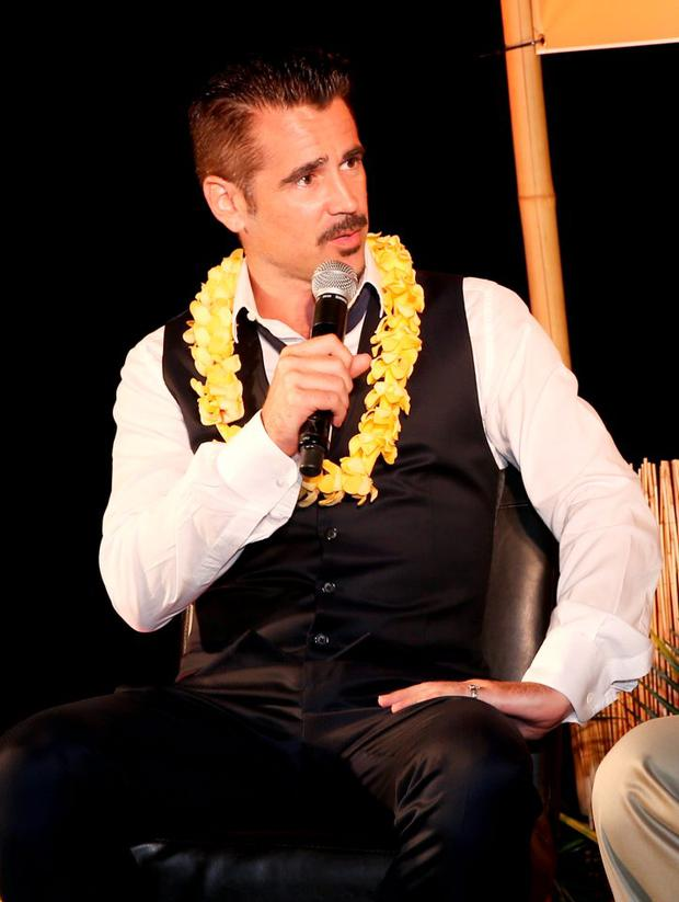 Actor Colin Farrell receives the 2015 Maui Film Festival Navigator Award during day two of the 2015 Maui Film Festival at Celestial Cinema on June 4, 2015 in Wailea, Hawaii. (Photo by Jonathan Leibson/Getty Images for Maui Film Festival)