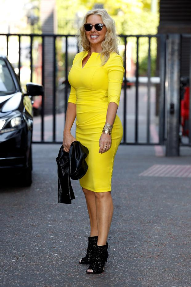Carol Vorderman seen leaving the ITV Studios after an appearance on 'Lorraine' on June 11, 2015 in London, England. (Photo by Neil Mockford/Alex Huckle/GC Images)
