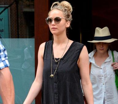 Jennifer Lawrence is seen in New York City on June 11, 2015 in New York City. (Photo by Gardiner Anderson/Bauer-Griffin/GC Images)