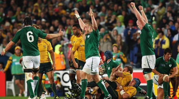 Tom Court (C) of Ireland celebrates victory with team mates during the IRB 2011 Rugby World Cup Pool C match between Australia and Ireland at Eden Park on September 17, 2011 in Auckland, New Zealand. (Photo by Sandra Mu/Getty Images) ***BESTPIX***