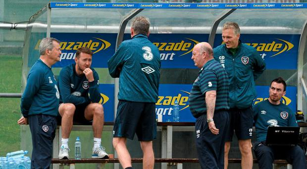 Republic of Ireland's Aiden McGeady, second from left, sits out squad training. Republic of Ireland Squad Training, Gannon Park, Malahide, Co. Dublin. Picture credit: David Maher / SPORTSFILE