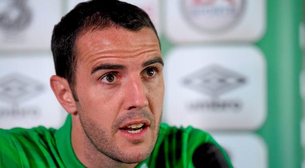 Republic of Ireland defender John O'Shea during a press conference. Radisson Hotel, Dublin Airport, Co. Dublin. Picture credit: Paul Mohan / SPORTSFILE