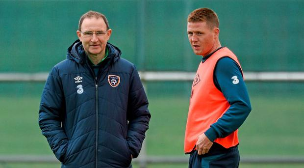 6 June 2015; Republic of Ireland manager Martin O'Neill with James McCarthy, during squad training. Gannon Park, Malahide, Co. Dublin. Picture credit: David Maher / SPORTSFILE