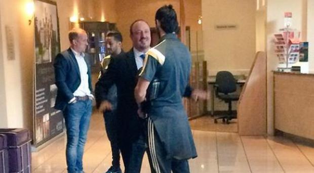 Rafa Benitez hugs Gareth Bale at the Wales team hotel