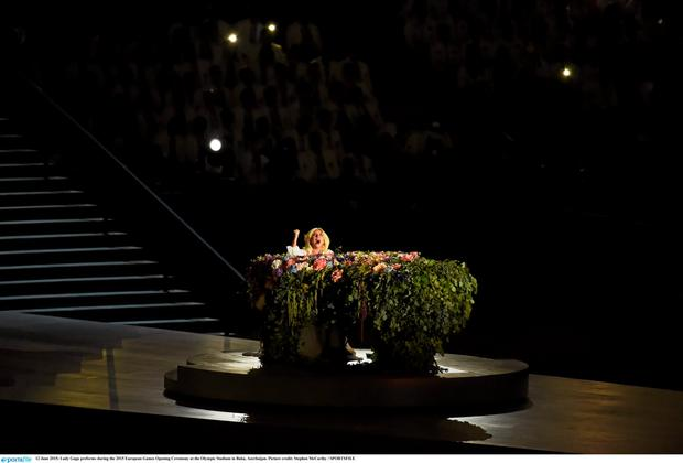 12 June 2015; Lady Gaga preforms during the 2015 European Games Opening Ceremony at the Olympic Stadium in Baku, Azerbaijan. Picture credit: Stephen McCarthy / SPORTSFILE