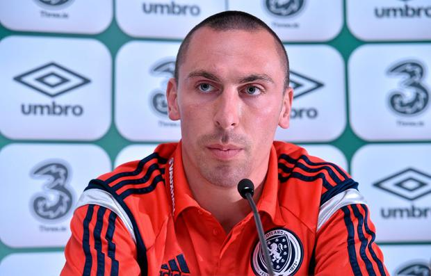 Scotland captain Scott Brown during a press conference. Scotland Press Conference, Aviva Stadium, Lansdowne Road, Dublin. Picture credit: Matt Browne / SPORTSFILE