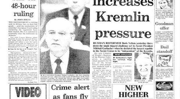 The Irish Independent front page from June 13, 1990