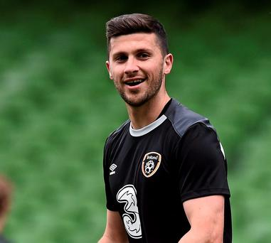Shane Long during squad training ahead of Ireland's Euro 2016 qualifier against Scotland today at the Aviva Stadium