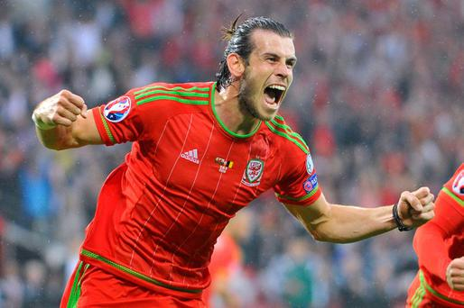 Gareth Bale celebrates after scoring the winner for Wales Reuters / Rebecca Naden