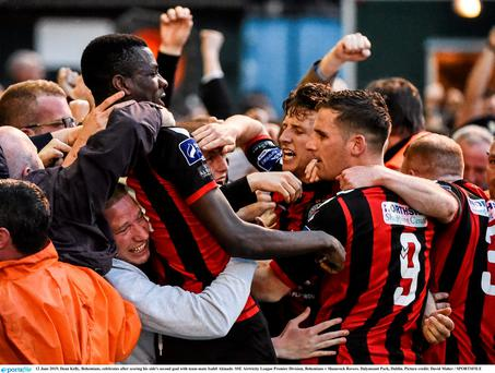 12 June 2015; Dean Kelly, Bohemians, celebrates after scoring his side's second goal with team-mate Isahil Akinade. SSE Airtricity League Premier Division, Bohemians v Shamrock Rovers. Dalymount Park, Dublin. Picture credit: David Maher / SPORTSFILE