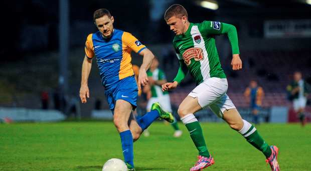 Alan McNally (left) of Bray Wanderers in action v Cork City