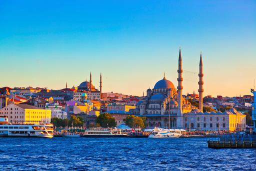 Sunset on the city: The huge city of Istanbul sits on either side of the Bosphorus Strait, and bustles with energy and is full of contradictions