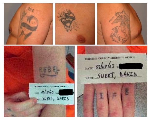 The tattoos of escaped prisoners Richard Matt (top) and David Sweat are seen in a combination of undated photos released by the New York State Police in Ray Brook, New York. REUTERS/New York State Police/handout via Reuters