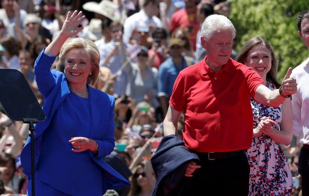 U.S. Democratic presidential candidate Hillary Clinton is joined onstage by her husband former President Bill Clinton and daughter Chelsea after she delivered her