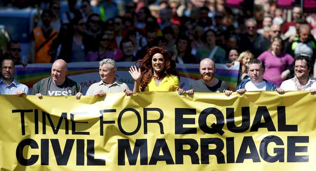 Lady Portia Di'Monte (C) takes part in the Rainbow Project rally for marriage equality in Belfast, Northern Ireland, June 13, 2015. REUTERS/Peter Cziborra