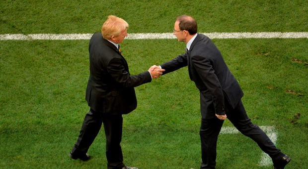 Republic of Ireland manager Martin O'Neill shakes hands with Scotland manager Gordon Strachan after the game.