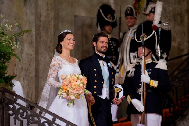 Prince Carl Philip of Sweden is seen with his new wife Princess Sofia of Sweden after their marriage ceremony at The Royal Palace on June 13, 2015 in Stockholm, Sweden. (Photo by Andreas Rentz/Getty Images)