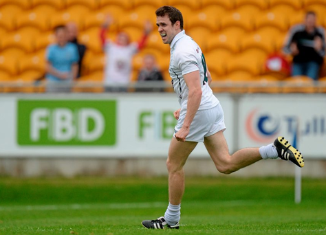 13 June 2015; Cathal McNally, Kildare, celebrates after scoring his side's second goal. Leinster GAA Football Senior Championship, Quarter-Final Replay Kildare v Laois. O'Connor Park, Tullamore, Co. Offaly. Picture credit: Piaras Ó Mídheach / SPORTSFILE