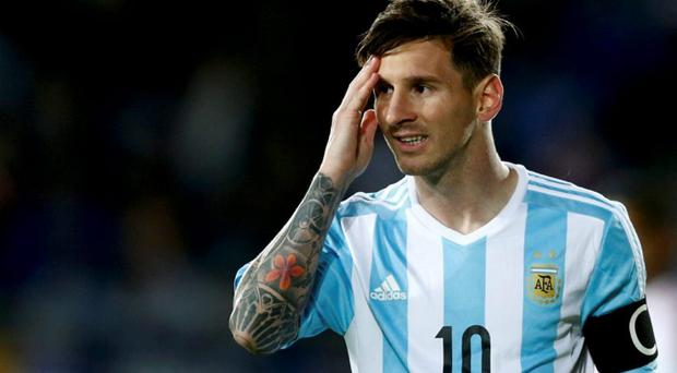 Argentina's Lionel Messi reacts during the first round Copa America 2015 soccer match against Paraguay at Estadio La Portada de La Serena in La Serena, Chile, June 13, 2015. REUTERS/Marcos Brindicci